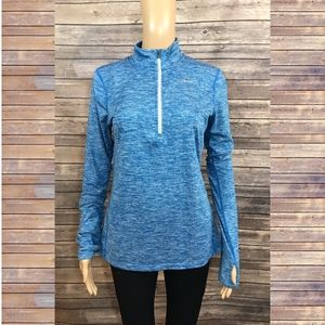 Nike Long Sleeved Dri-Fit Blue Half Zip Pullover